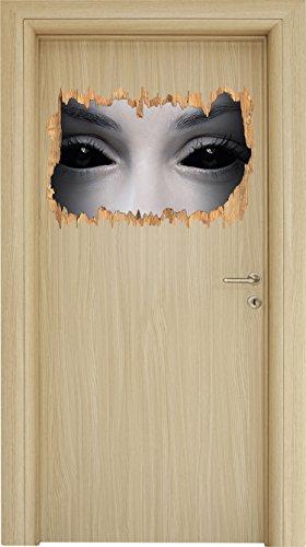 Böse Dämonenaugen Holzdurchbruch im 3D-Look , Wand- oder Türaufkleber Format: 62x42cm, Wandsticker, Wandtattoo, - Halloween-gemälde Vampir-gesicht