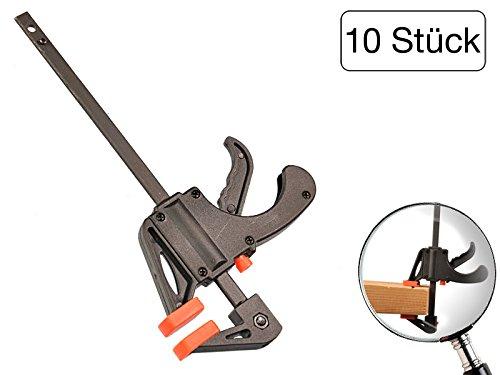 10 Stück Einhandzwinge 40 x 100 mm aus Nylon mit Stahlschiene