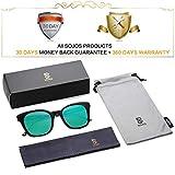 SOJOS Moda Vintage Occhiali da Sole Quadrati Polarizzate Specchiati Uomo e Donna Unisex SJ2050 Con Nero Telaio/Verde Specchio Lente