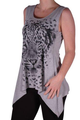 Eyecatch - Damen Designer Tiger Motiv Lange drapierte Stretch Vest Top Damen Plus Size Grau