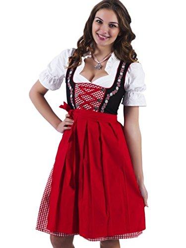 3tlg. Dirndl-Set - Trachtenkleid, Bluse, Schürze, Gr.36, schwarz-rot, ALM736