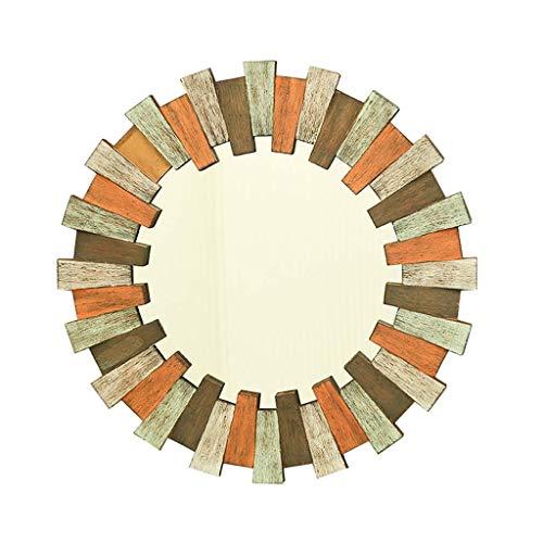 CUI XIA UK- Retro Runder Wand-HäNgender Spiegel, Kreis An Der Wand Befestigter Eitelkeits-Make-Up Und Rasierspiegel - Dekorativer Hauptspiegel - Holz-Basierter Platten-Ebenenspiegel -