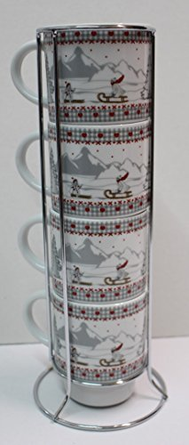 SET de 4 tasses Montagne sur colonne métal COLINE HT 27 CM