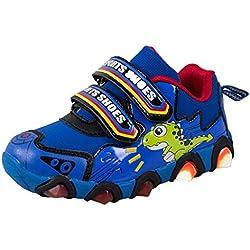 Cinnamou Niño Antideslizante Seguro Bebé Zapatillas Lindo Dibujos Animados Pata de Dinosaurio Niña Niños Zapatos de iluminación Calzado Deportivo
