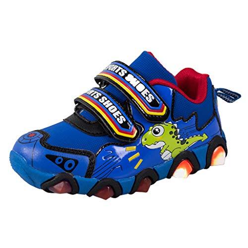 Mitlfuny Zapatos para bebé Niñas Niños Antideslizantes de Suela con Goma Zapatitos Dinosaurio Dibujos Animados LED Luz Luminous Zapato de Deporte Primavera Verano Zapatillas para Correr Niño 3-8 Años