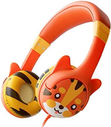 KidRox Tiger-Ohr Kinderkopfhörer, 85dB Lautstärkebegrenzung, Einstellbarer und Sicherer Gehörschutz, Verwicklungsfreies Kabel, On-Ear-Ohrhörer mit Kabel für Kinder Kleinkinder Jungen Mädchen