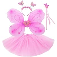 Fun Play Fairy Costume - Butterfly Wings, Tutu, Magic Wand and Headband set Pink for 3-8 year years girls