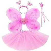 Fun Play Rosa hada disfraz - alas de mariposa niña por 3-8 años - alas de la mariposa, Tutú, Varita mágica y diadema establecen