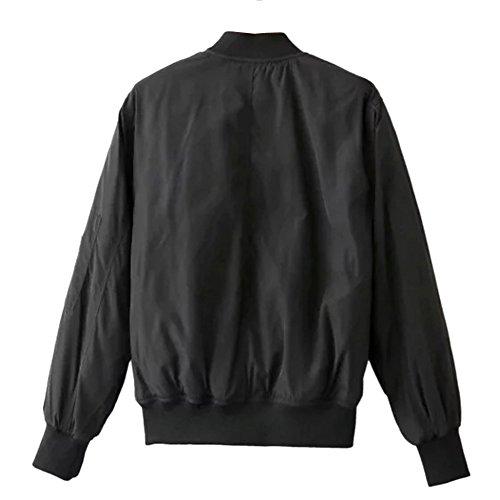 iPretty Herbst Jacke Damen Kurze Bomberjacke Spleiß Mantel Stehkragen Jacke College Jacke mit Reißverschluss Cardigan Outwear - 2