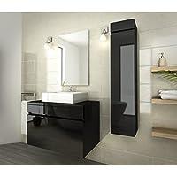 LUNA Salle de bain complete simple vasque 80 cm - Noir vernis Haute Brillance