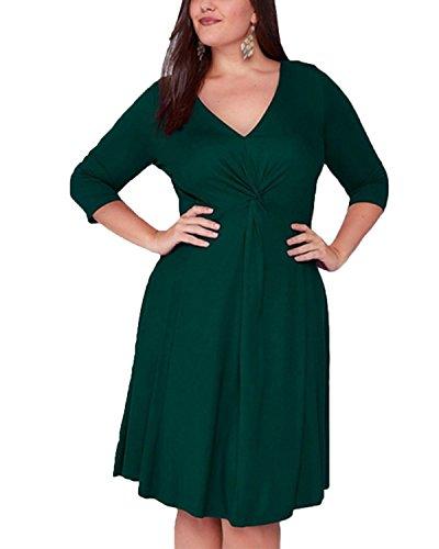 def6232382 BIUBIU Women's Plus Size 3/4 Sleeve Surplice Solid Cocktail Evening Dresses  UK 16-26