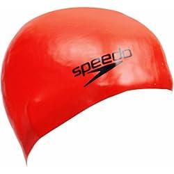 Speedo Plain Moulded - Gorro de natación, tamaño único, color rojo
