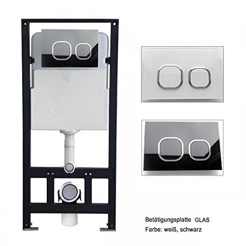 Bernstein Glas-modell (WC-Vorwandelement G3004A inkl. Betätigungsplatte - Modell wählbar, Betätigungsplatte:Modell weiß Glas)