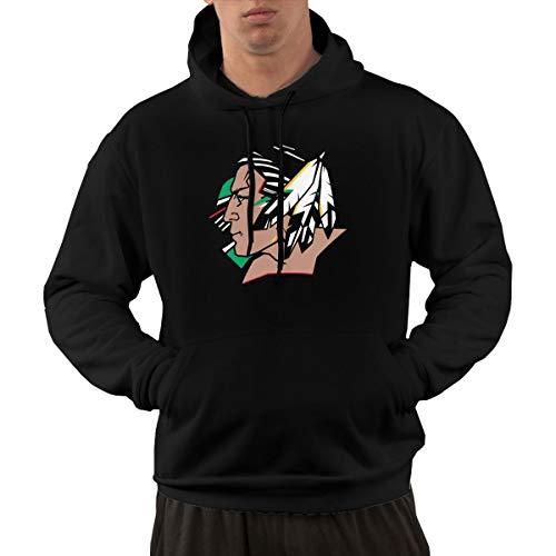 Wujiaoxing No_rth Dako_TA Fight-ing SI_oux Logo Klassischer Komfort Herren Hoodie Sweatshirt Black S Mode Kapuzenpullover