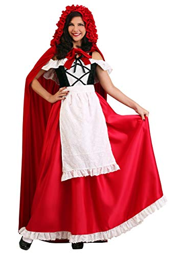 Kostüm Hood Red Womens Riding - Women's Deluxe Red Riding Hood Fancy Dress Costume Large