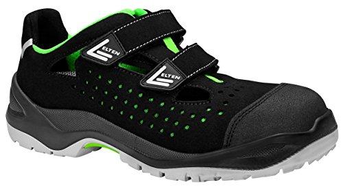 ELTEN Sicherheitsschuhe IMPULSE green Easy ESD S1P, Herren, sportlich, leicht, schwarz/grün, Kunststoffkappe, Klettverschluss - Größe 43