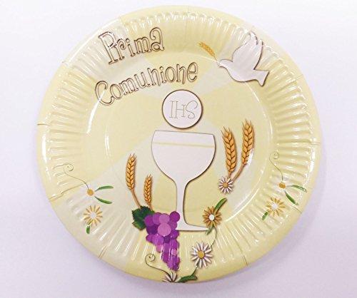takestop® Set 18Stück Teller Pappteller 18cm für Party Erste Kommunion Gelb Einweg Dekorationen Kelch Ostia Ähre Sacramento Party Party