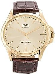 Q&Q Men's Gold Dial Leather Band Watch - Qa06J100Y, Analog