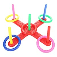 Nrpfell Ring Toss Game Quoits Hoopla Set Quiots Pegs Rope Target Kids Garden Party