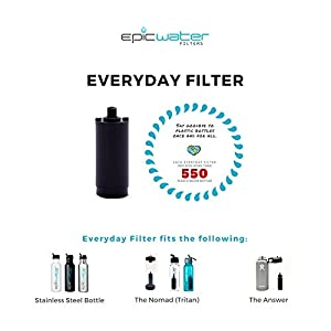 412JQm5VjEL. SS300  - Epic Water Filters EVERYDAY REPLACEMENT FILTER for Stainless Steel Bottle, Eco-Tritan Bottle, and The Answer