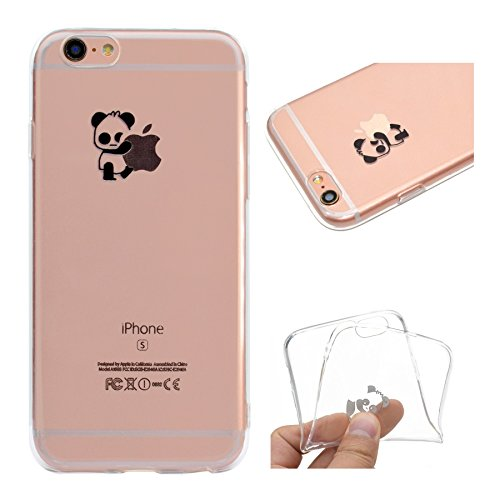 Custodia per iPhone 6 Plus, per iPhone 6S Plus Cover, ZCRO Custodia in Silicone Trasparente TPU Colorata Modello Ultra Slim Disegno Case Gomma Morbida Antigraffio Bumper Caso Cover Protezione con Penn Panda