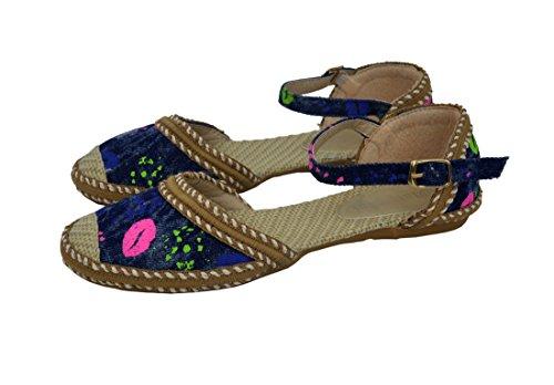 Le donne scarpe basse ballerine con fibbia colorato Comfort Multicolore
