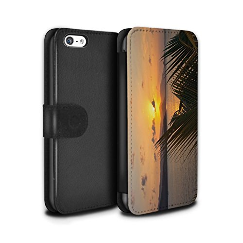 Stuff4® PU-Leder Hülle/Case/Tasche/Cover für Apple iPhone 5C / Palmen Muster/Sonnenuntergang Kollektion