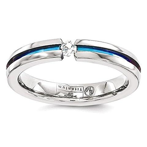 IceCarats Edward Mirell Titanium White Sapphire Multicolored Anodized 4mm Wedding Ring Band