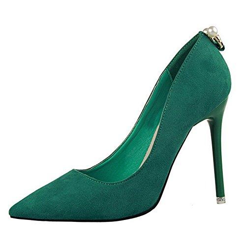 AalarDom Damen Mattglasbirne Rein Spitz Zehe Ziehen Auf Pumps Schuhe mit Anhänger Grün