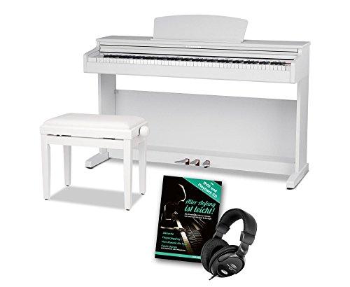 Steinmayer DP-320 WM Digitalpiano SET (88 Tasten, Ivory Touch, Hammermechanik, 2 Kopfhöreranschlüsse, 3 Pedale, Aufnahmefunktion, Saiten- und Dämpferresonanzsimulation + Pianobank, Kopfhörer, Klavierschule) weiß matt