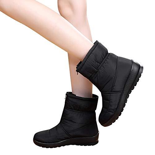 BHYDRY Schuhe Damen ReißVerschluss Klassisch Bequem Winter Warm Wasserdicht Kurze Schneestiefel Warme Schuhe Flache Schuhe Schneeschuhe Outdoor Schuhe(39.5 EU,Schwarz)