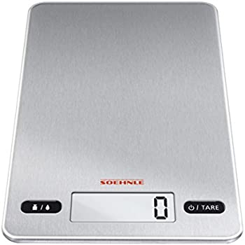 Soehnle Page Evolution Electronic Kitchen Scale, Ultra Thin 8.3 Mm    Stainless Steel