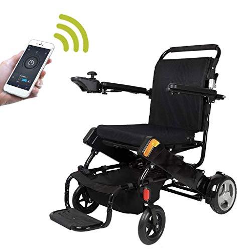 DONGBALA Sedia A Rotelle Elettrica GPS, con L'app del Telefono Motore Doppio da 500 W. Doppio Uso Manuale Ed Elettrico per Disabili Anziano Casa Ufficio Shopping Alluminio,Nero