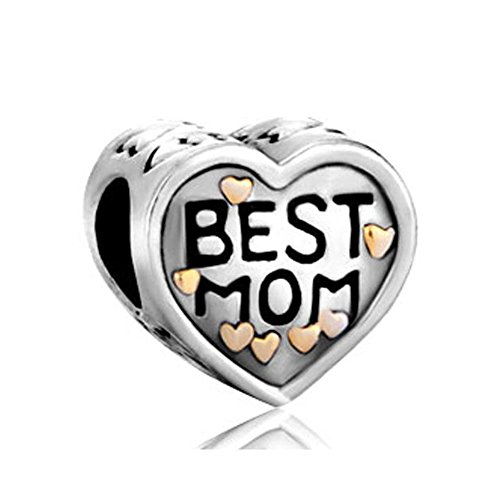 UniqueenJewellery Mother's Gifts Mum Heart Charms Beads Sale Cheap Fit Pandora Bracelet Christmas Test