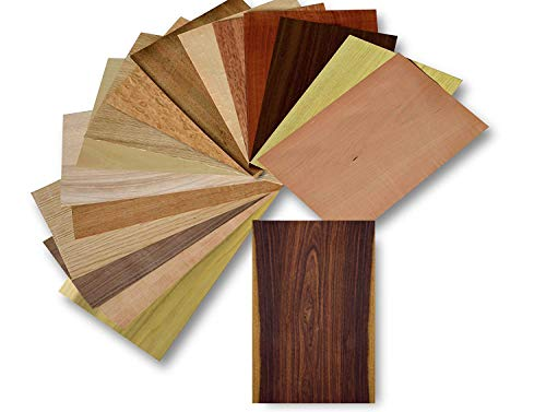 Holz Furnier Set, 17 Varianten, Echtholz, Nussbaum, Eiche, Teak. uvm. Bastelset, Modellbau, Intarsien (Set II) -