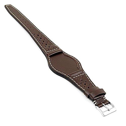 DASSARI madera italiano piel perforado Rally Bund correa de reloj para Tudor Patrimonio Ranger en marrón 20mm