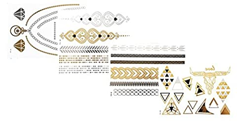 Tattoo Tatouage Temporaire Métallique Golden Metallic Gold Stickers de tatouage temporaire pour l'art corporel Formes dorées - SET W-E Temporary Tattoo Body Tattoo Sticker Set 4 in 1 - FashionLife