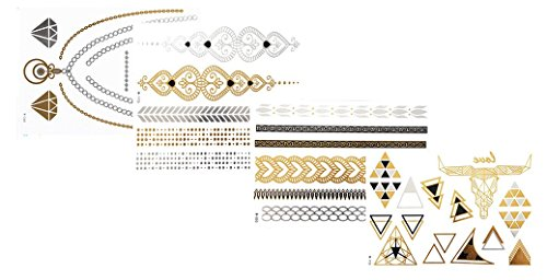 Tattoo Tatouage Temporaire Métallique Golden Metallic Gold Stickers de tatouage temporaire pour l'art corporel Formes dorées - SET W-E Temporary Tattoo Body Tattoo Sticker Set 4 in 1 - FashionLife