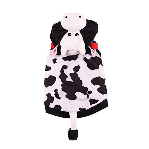 FZ FUTURE Haustier Kuh Kleidung, Halloween Haustier Pullover, Halloween Haustier Mantel, Herbst und Winter warm halten, Nettes Cosplay, für Party Weihnachten Special Events - Kuh Hoodie Hunde Kostüm