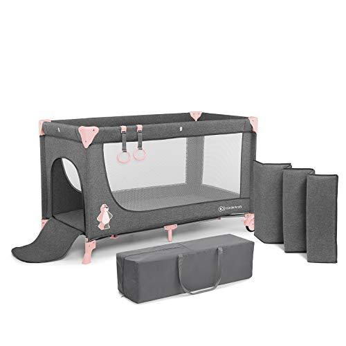 Kinderkraft lettino joy culla da viaggio campeggio pieghevole ruote con accessori borsa di transporto zanzariera per neonati e bambini certificato en 716 rosa