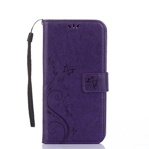 Cover Protettiva Nokia N535, Alfort 2 in 1 Custodia in Pelle Verniciata Goffrata Farfalle e Fiori Alta qualità Cuoio Flip Stand Case per la Custodia Nokia N535 Ci sono Funzioni di Supporto e Portafogl Porpora