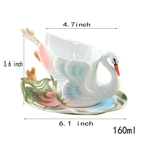 Tasses à café,Mug en céramique Tasse de café de Swan Mis en avec Soucoupe et cuillère créative Tasses à thé Tasses à thé et soucoupes-Coupe du Cygne 160ml