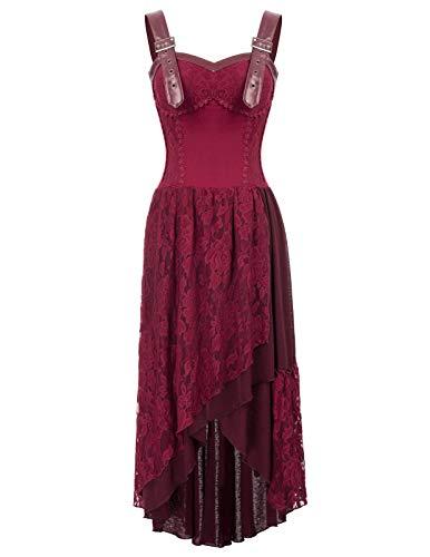 Mujer Vestido Largo Elegante Gótico con Jacquard y Encaje para Fiesta Gala Cosplay M Vino