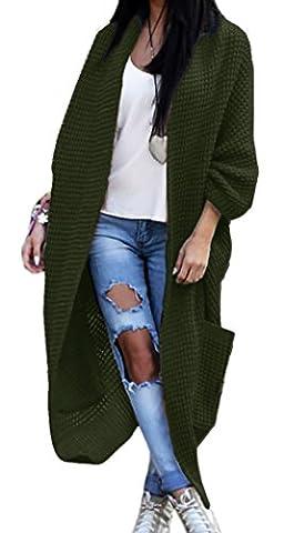 Mikos Women's 3/4 Sleeve Waterfall Asymmetric Open Cardigan Sweater (629) (Khaki)
