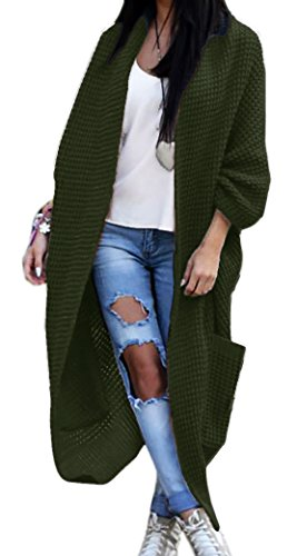 Damen Strickjacke Pullover Pulli Jacke Oversize Boho S M L XL (629) (One Size, Khaki)