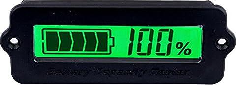Yeeco LCD Numérique Batterie Capacité Moniteur DC 8-63V Lithium Batterie Capacité Tester, 12V / 24V / 36V / 48V Conduire Acide Batterie Panneau, Convient à Voiture / Mobile Puissance, etc. (Affichage LCD Vert)