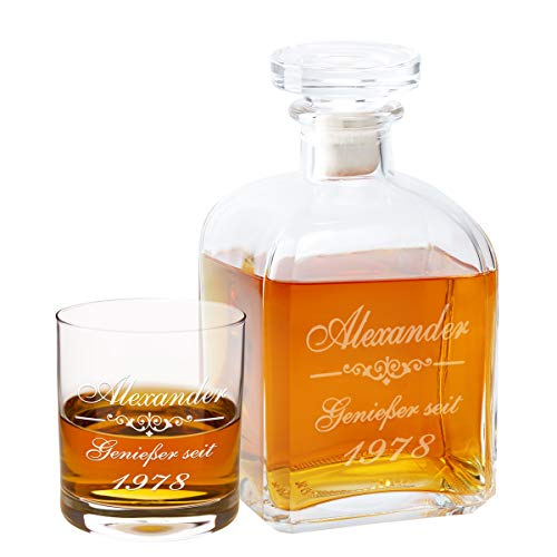 Geschenke 24 Whiskykaraffe Edel mit Gravur + 1 graviertes Whiskyglas - personalisiertes Whisky-Geschenk für Männer, Freund & Väter