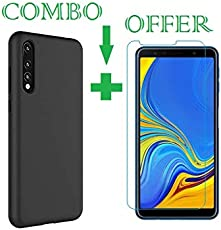 Sanguine Tempered Glass & Back Cover Good Quality [Combo-Candy] Soft Flexible Case for Samsung Galaxy A7 2018