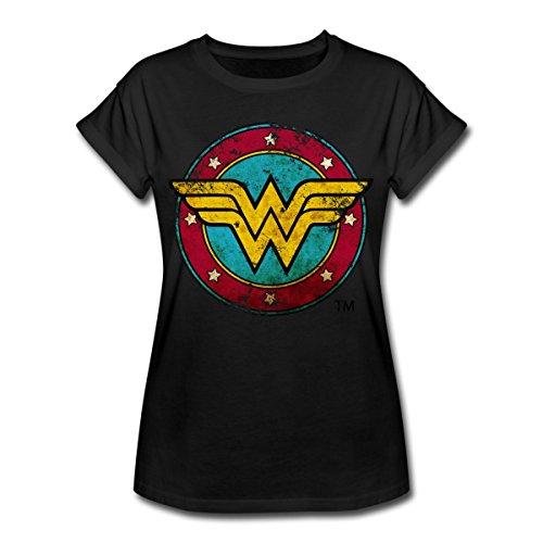 Spreadshirt DC Comics Wonder Woman Logo Used Look Frauen Oversize T-Shirt, M, Schwarz - Wonder Für Frauen Woman T-shirts