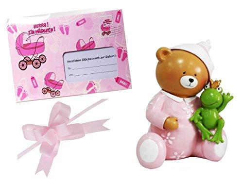Geschenk zur Geburt 3 teilig Babyparty Taufe Mädchen rosa Geschenk Geburt Pullerparty Spardose